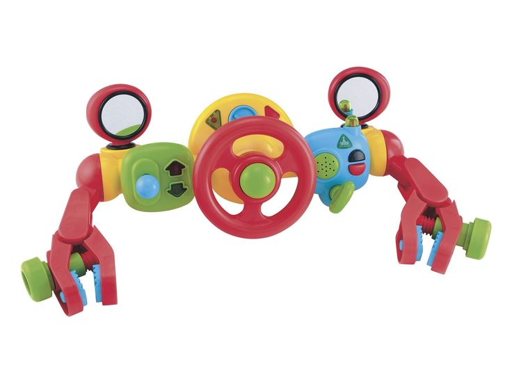 The Lights and Sounds Buggy Driver is full of fun activities for your baby, so they can happily play in their pushchair whenever you're out and about. The Lights and Sounds Buggy Driver has a steering wheel to turn, horn to beep, ignition handle