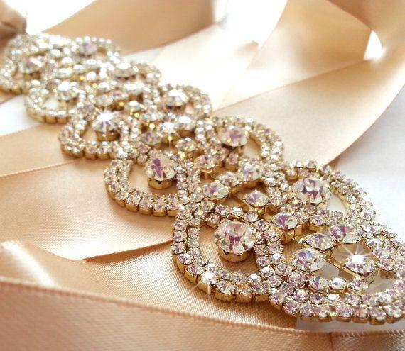 Gold rhinestone encrusted bridal belt sash custom ribbon for Gold belt for wedding dress