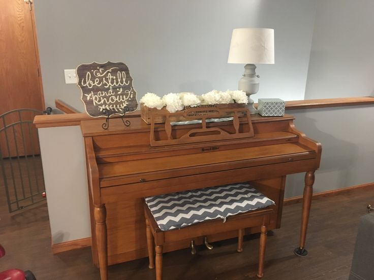 Piano Decor  Painted lamp with spray chalk paint and sealed with matte spray sealer.