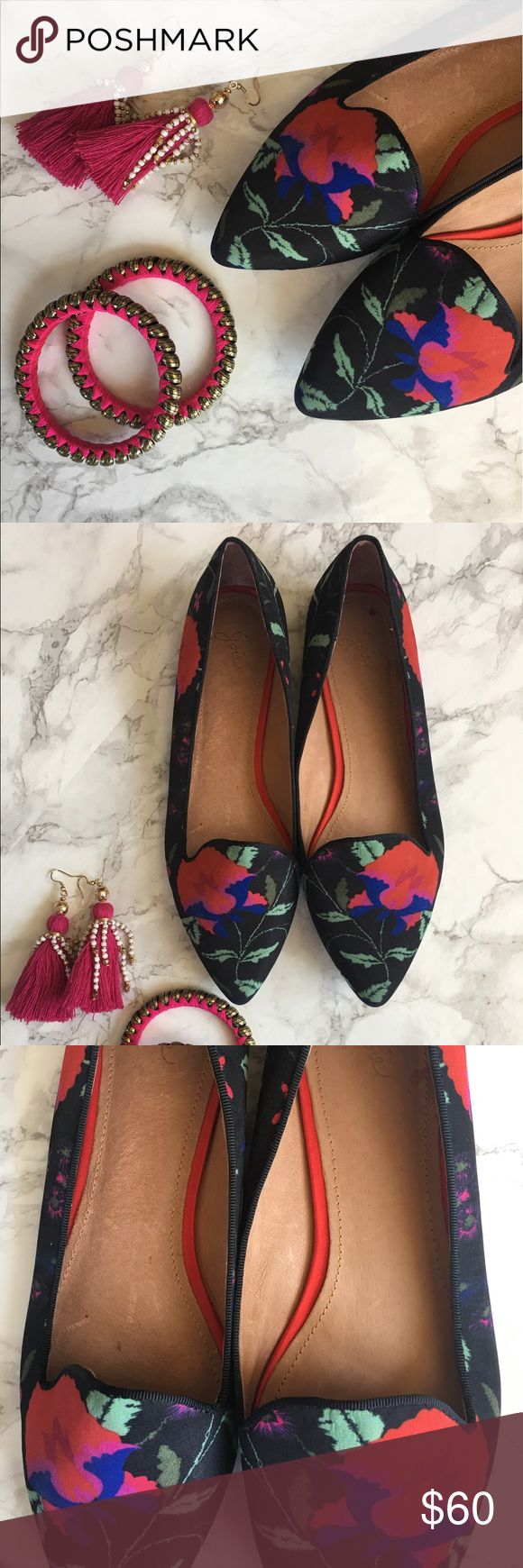 Joie floral print flats The perfect floral print flats so cute for summer. Can we worn with dress, shorts and pants. Very comfy gently used, great condition. Joie Shoes Flats & Loafers