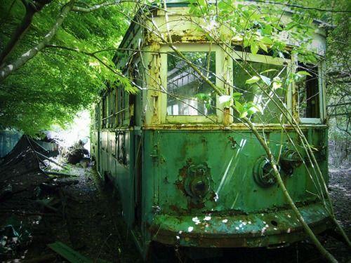 廃墟になった遊園地の片隅には、引退した市電が展示されていました。