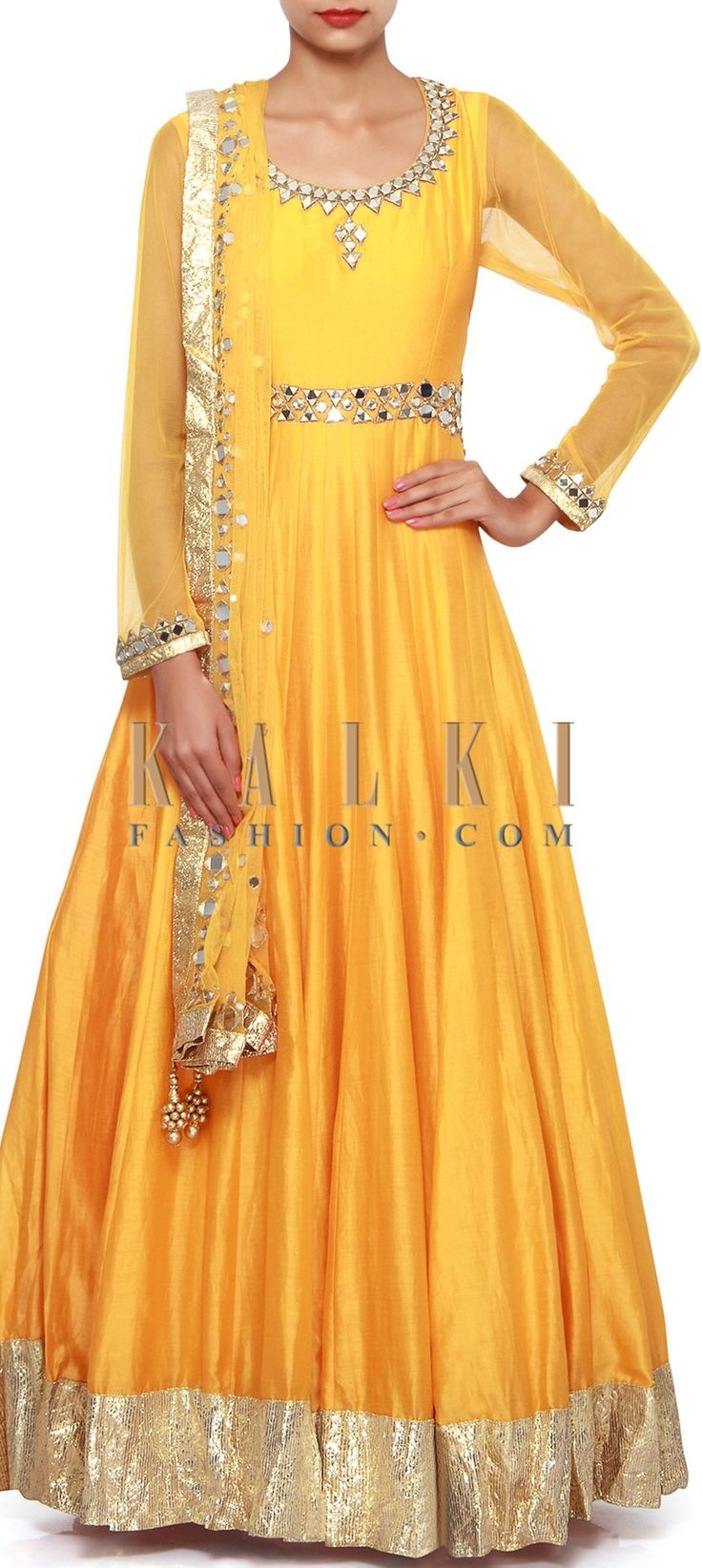 Buy Online from the link below. We ship worldwide (Free Shipping over US$100). Product SKU - 308411.Product Link - http://www.kalkifashion.com/citrus-yellow-anarkali-suit-adorn-in-mirror-embroidery-only-on-kalki.html