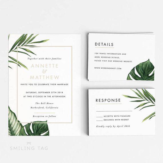 Printable Wedding Invitation Printable Set - Modern Tropical Foliage Wedding Invites- Ready to Print PDF- Letter A4 Size (Item code: P347)