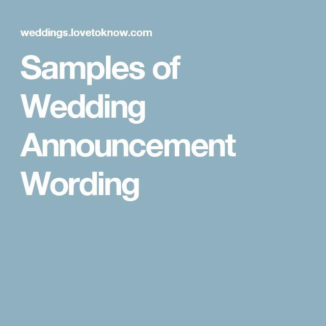 Samples of Wedding Announcement Wording