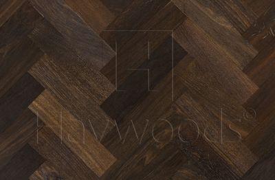 HW063 Gold Leaf European Oak Dark Fumed Herringbone Prime Grade 70mm x 280mm Solid Wood Flooring