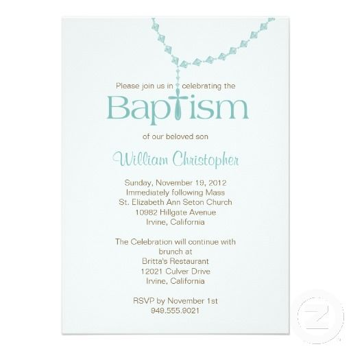 Rosary Beads Baptism Invitation for Boy