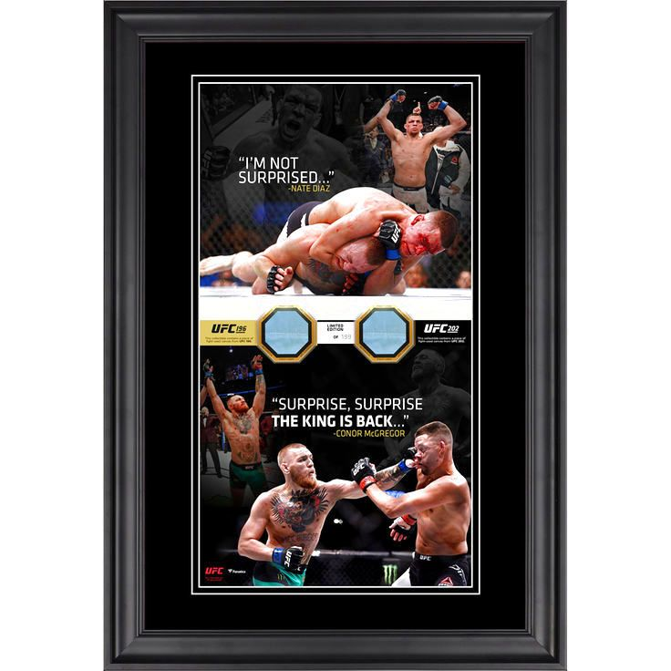 """Nate Diaz,Conor McGregor Ultimate Fighting Championship Fanatics Authentic Framed 10"""" x 18"""" Vertical Photo Collage with Pieces of Match-Used Canvas from UFC 196 and UFC 202 - Limited Edition of 199 - $103.99"""