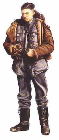 """Soldat, commandement des bombardiers, 1939   Membre d'équipage, 102ème groupe RAF, 1940  Le personnage ci-dessus est un membre d'équipage du commandement des bombardiers, navigant sur un Whitley. Par-dessus sa tenue de service, il porte un """"Irvin Harnsuit"""", vêtement qui comportait un gilet de sauvetage gonflable et trois points d'attache pour un parachute. L'homme est équipé d'un casque de type B et d'un masque à oxygène. Ses bottes sont un modèle de 1936 en cuir noir lustré doublé de peau…"""