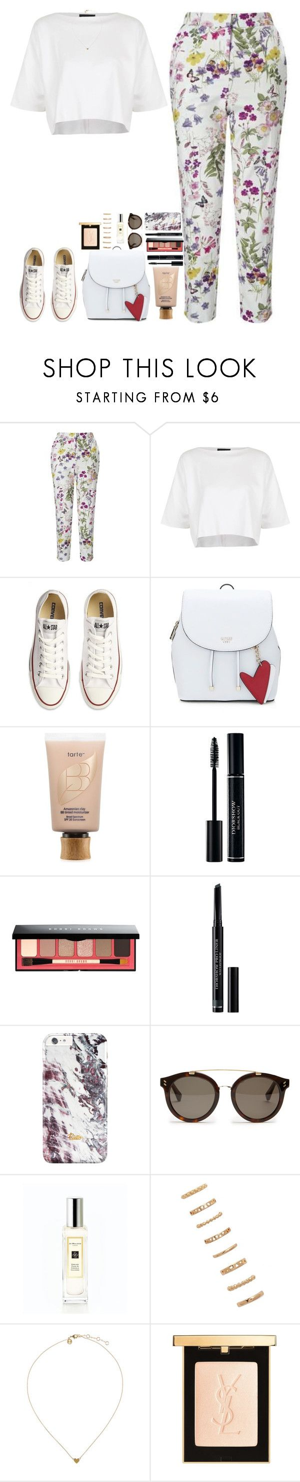 """""""British Summer Time fest."""" by whisperofregret ❤ liked on Polyvore featuring Miss Selfridge, Topshop, Converse, tarte, Bobbi Brown Cosmetics, Christian Dior, STELLA McCARTNEY, Jo Malone, Forever 21 and Yves Saint Laurent"""