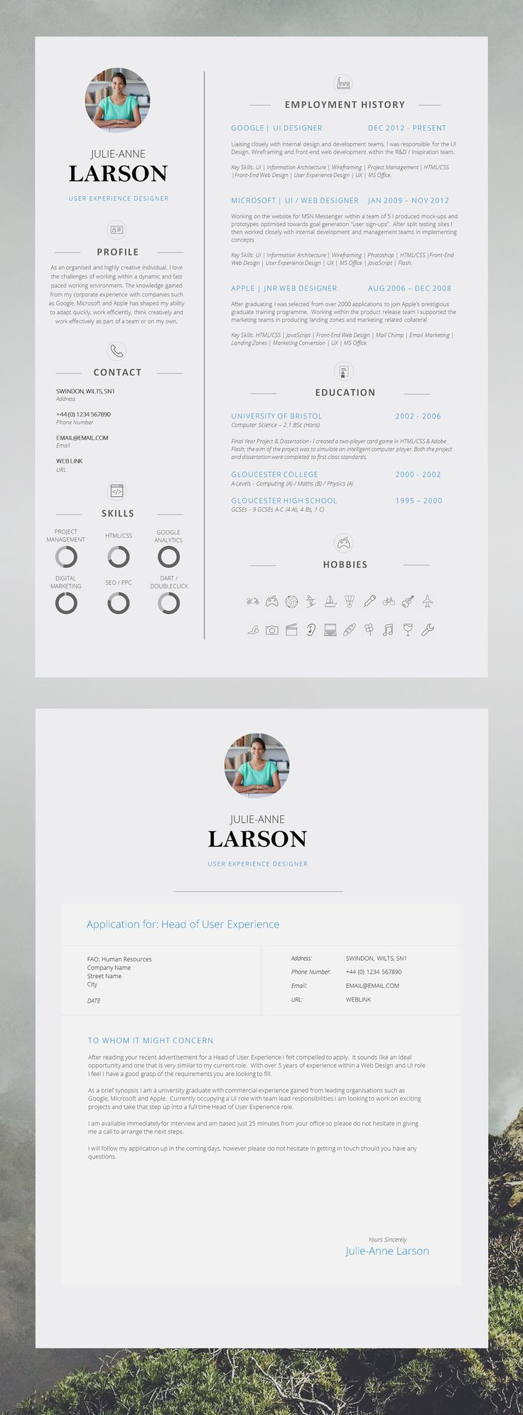 super slick single page cv template with photo and cover letter resume template