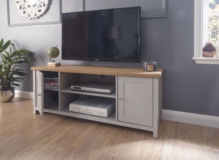 Wooden TV Stand Rustic Grey Cabinet Vintage Media Shelves Unit Cupboard Living
