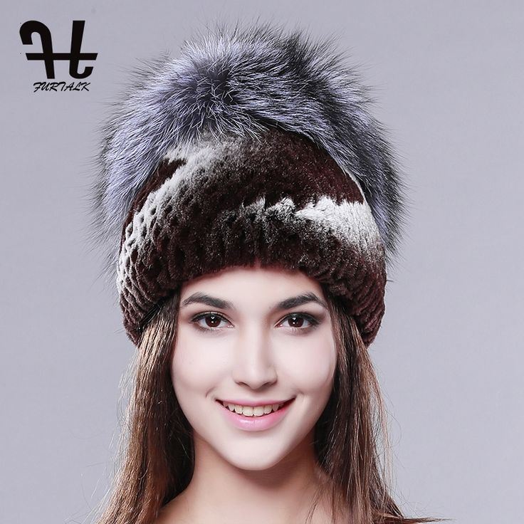 31.20$  Buy here - http://alitcu.shopchina.info/1/go.php?t=32796221825 - FURTALK new Rex Rabbit fur hat knitted real fur cap with silver fox fur pom poms fashion women hat good quality fur hats 31.20$ #SHOPPING