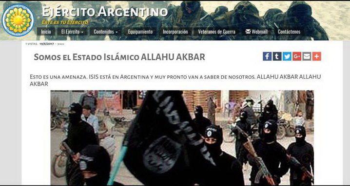 Hackea pagina web del ejercito argentino y amenaza con atacar bajo el nombre de ISIS