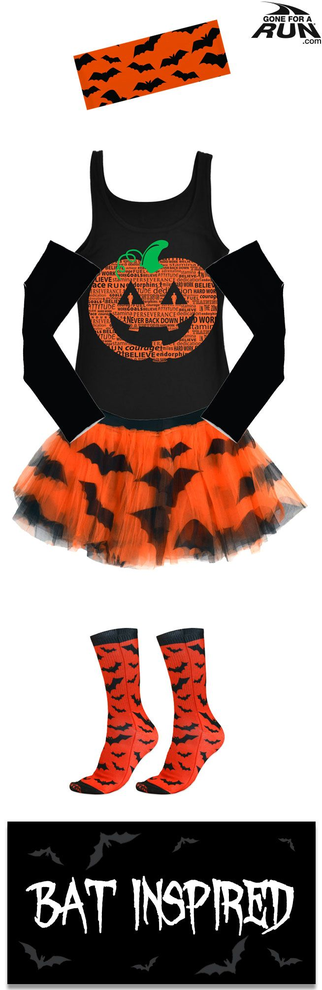 Trick or run? Get in a #spooky fun mood with our #Halloween inspired running gifts! From shirts to socks and more, you'll find something to suit you and your running friends haunted moods! Make up your own #costume, or check out one of our original ideas! Fly through your race faster than a colony of bats with this bat inspired Halloween runner's costume!