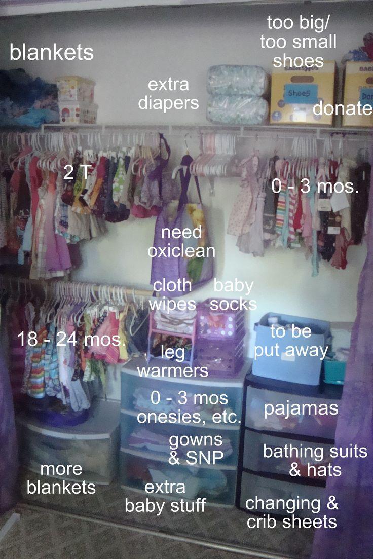 organized baby closet but nicer shelving
