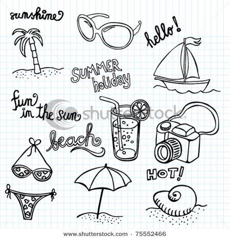 Beach Doodles - stock vector