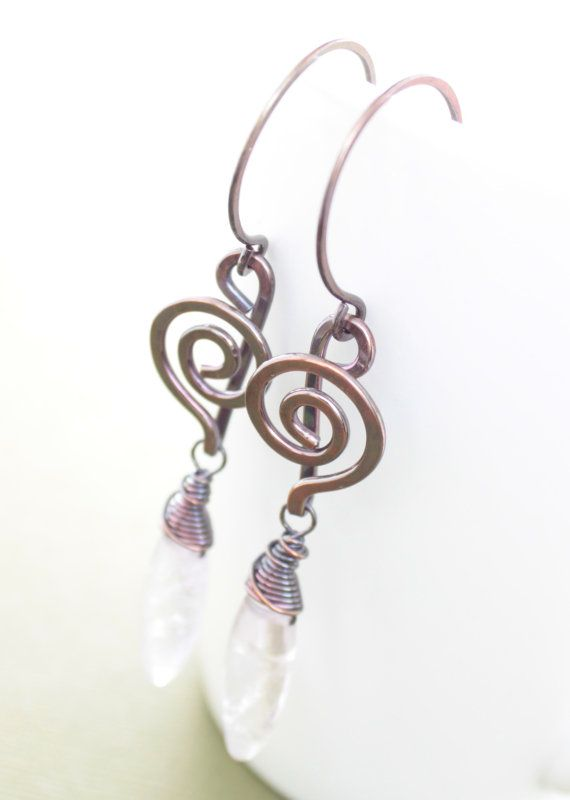 Swirly treble clef rustic copper earrings with very by IngoDesign, $24.00