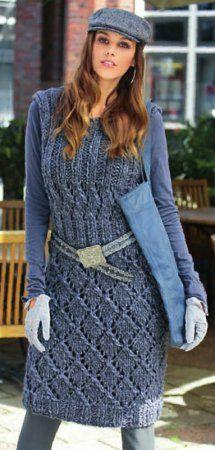 Теплое платье спицами с ажурными узорами