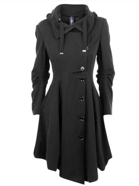 Clocolor Asymmetric Black Coat 11801177-Women's Jackets & Coats-Enso Store-Black-S-Enso Store