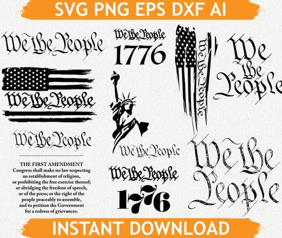 We The People Constitution Flag Svg We The People Svg Cricut Eps Png Dxf Ai Silhouette Cameo Silhouette Cameo Svg We The People
