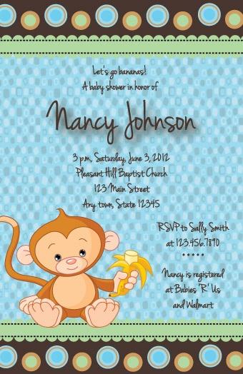 Monkey themed baby shower invitations