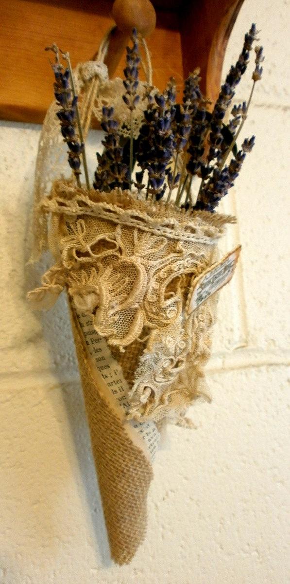 a cornucopia , vintage lace and burlap