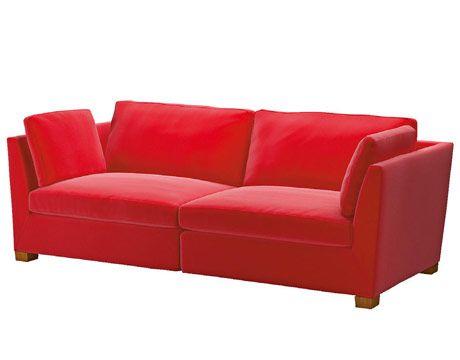 I love red sofas.