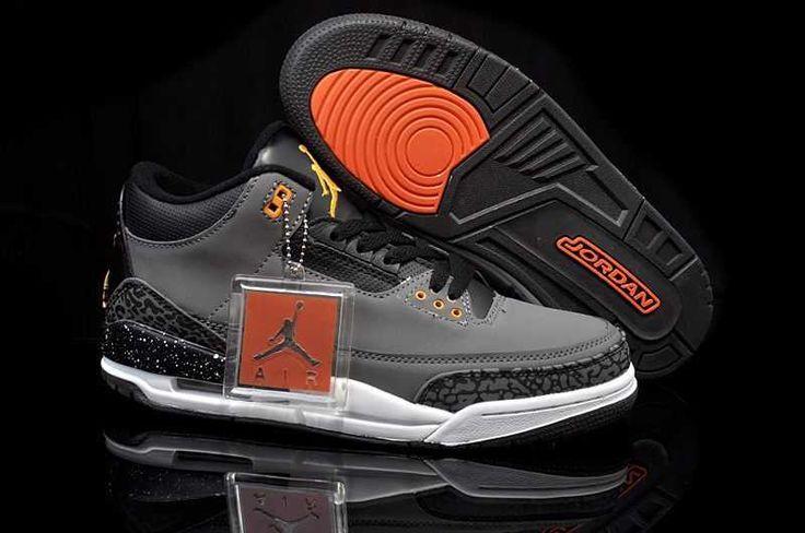 check out e6873 d9e51 ... Homme Nike Air Jordan 3 Gris Noir Orange S08v ...