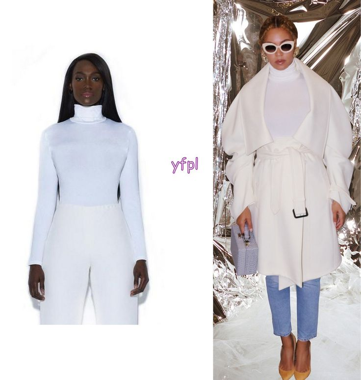 Beyoncé wore TRISTAN ARCH by Diandre Tristan & Eric Archibald Icy White Casual Turtle Neck Bodysuit $350  for Happy Thiccsgiving My Life Update 23rd November 2017