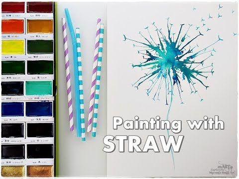 Straw Blow Dandelion Painting Technique ♡ Maremi's Small Art ♡