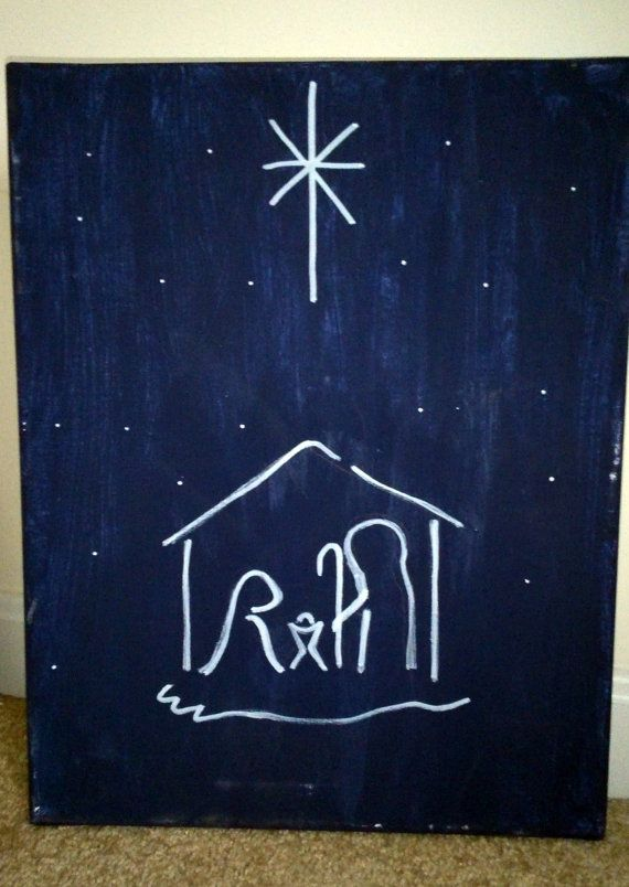 Simple Christmas Night Canvas Painting by HandmadeAMDG on Etsy, $10.00