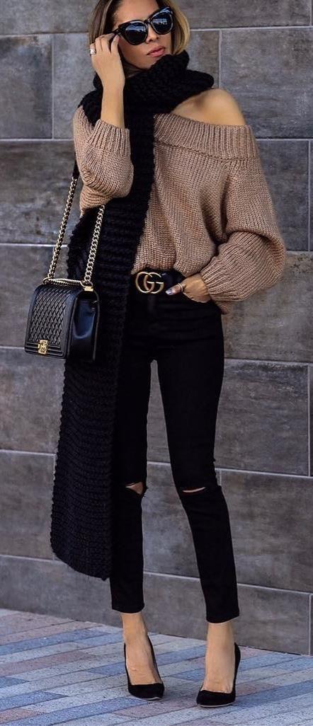 black and brown_one shoulder sweater + scarf + bag + skinnies + heels