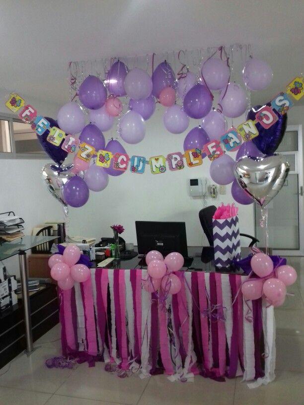 #Office #birthday #cumpleaños #oficina #decoración #escritorio  #cubículo