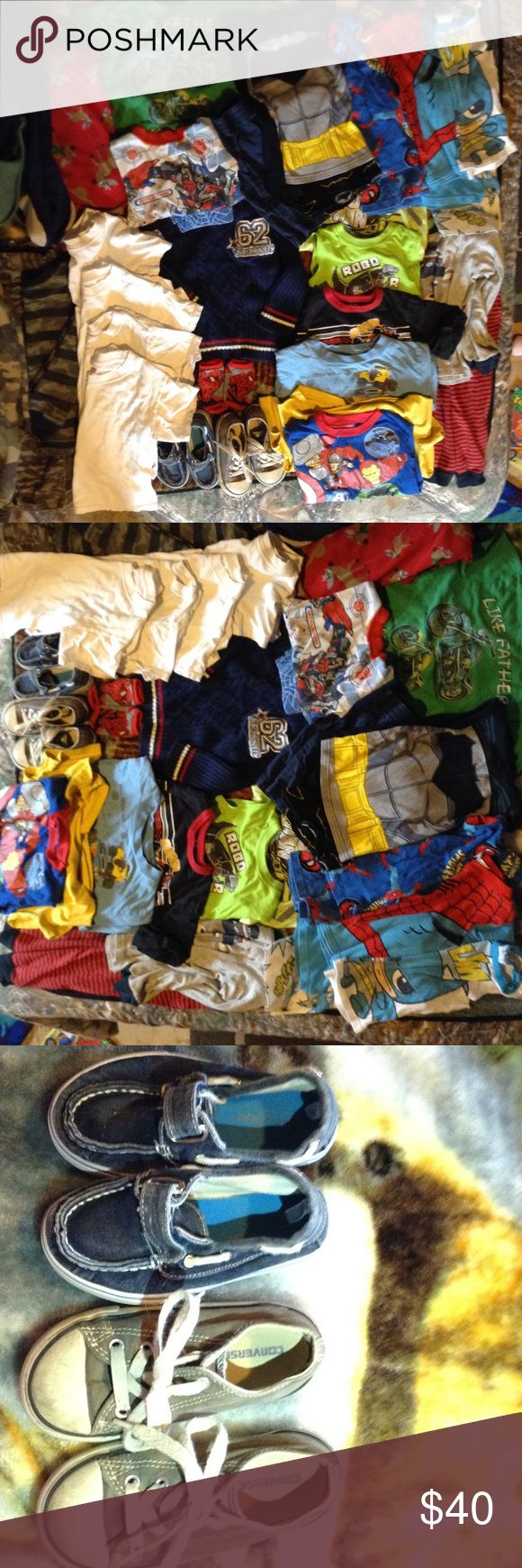 3T/4T LOT Hero Boys Clothes! Converse. 35 pieces 35 piece lot 3T&4T. 2 pairs of Shoes size 7 1 Converse(has wear) other like new. 12 t-shirts a few have wear. 4 shirt/shorts 2spiderman 2batman (1batman was long sleeves/pants has been cut off. 2 sweater. 2 sleepers (red has feet cut off)1sleep outfit deer long sleeve, red&black pants (has lil hole in pants on front leg) 1 corduroy&1cloth camo pants. 1pair navy shorts. 1 pair spiderman socks. 1 transformer shirt&1 shorts(both cut off) have to…