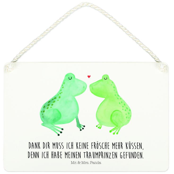Deko Schild Frosch Liebe aus MDF  Weiß - Das Original von Mr. & Mrs. Panda.  Ein wunderschönes Schild aus der Manufaktur von Mr. & Mrs. Panda - die Schilder werden von uns direkt nach der Bestellung liebevoll bedruckt und mit einer wunderschönen Kordel zum Aufhängen versehen.    Über unser Motiv Frosch Liebe  Das Gefühl verliebt zu sein und seinen Verbündeten gefunden zu haben ist unbezahlbar.  Die verliebten Frösche überbringen für dich eine ganz süße Botschaft...    Verwendete Materialien…