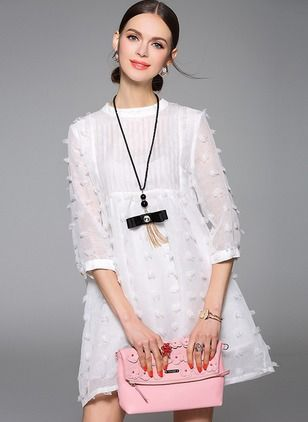 Little White Dress-----------------------------Polyester Solid 3/4 Sleeves Mini Casual Dresses
