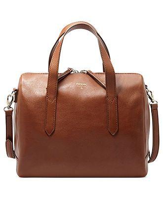 Fossil Handbag, Sydney Leather Satchel - All Handbags - Handbags Accessories -