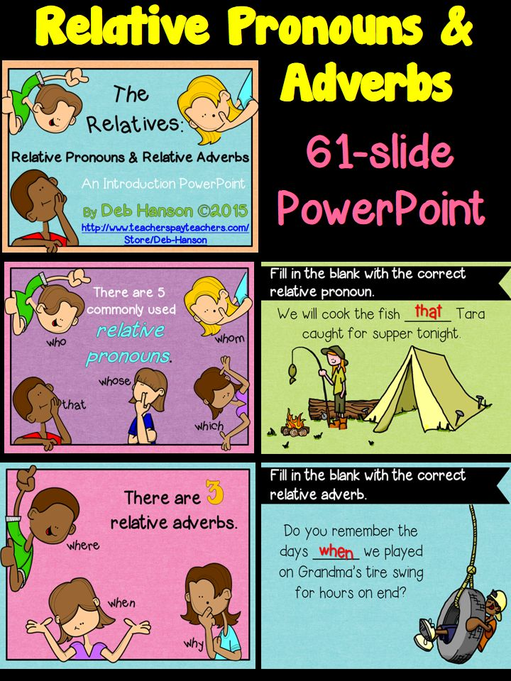 Relative Pronoun PowerPoint- lots of practice slides!  (includes a study guide printable)  $