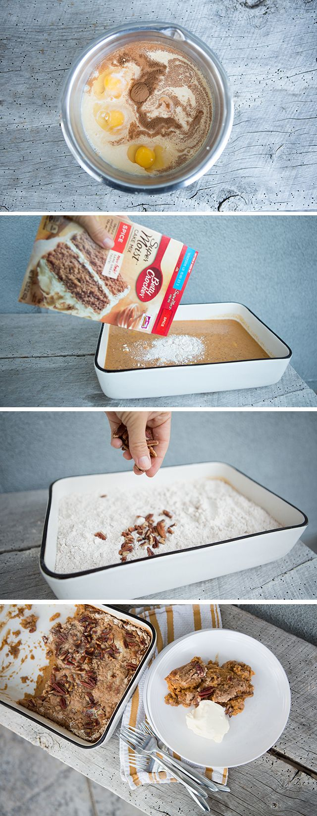If you've never heard, can I introduce you to the concept of 'dump cake?' While the name is quite unflattering, the concept is genius! The cake consists of several pantry ingredients and some eggs…involves a few stirs and about an hour in the oven. And all the busy moms rejoiced! Any time I have to …
