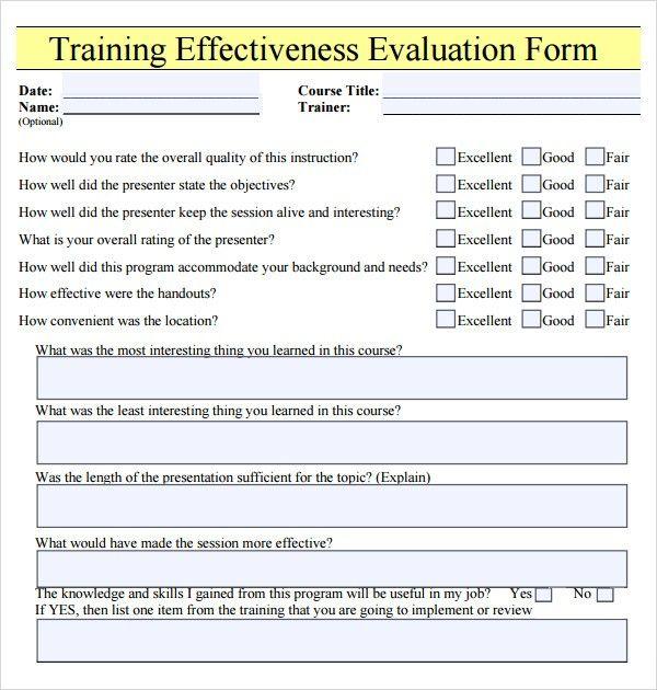 Employee Evaluation Form Pdf Training Evaluation Form Training