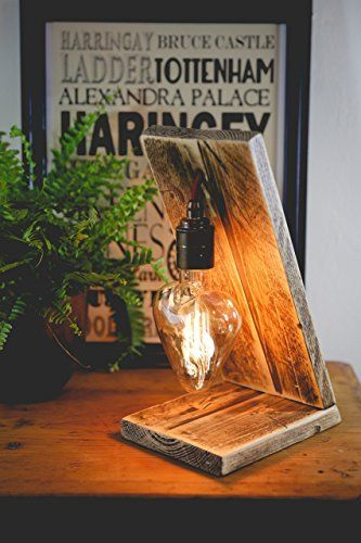 Angel Table Lamp with Heart Vintage Bulb made with Reclaimed Wood