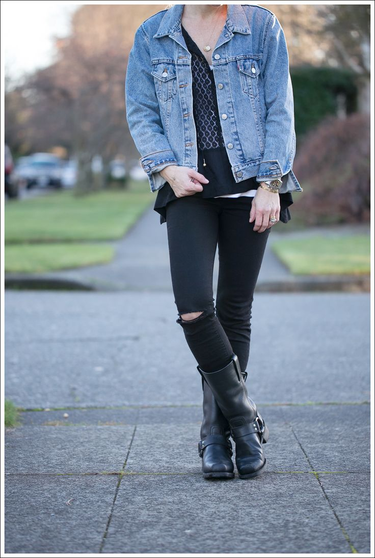 Vintage Levis Jean Jacket + Ripped Black J Brand Skinny Jeans + Frye Harness Boots