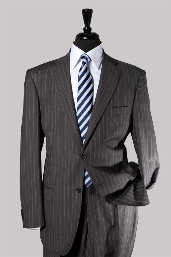 Charcoal Grey Pinstripe Suit, Classic Cut #CharcoaSuit $547