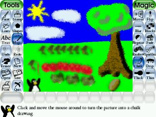 We've had Tux Paint, a free drawing program for PC/Mac/Linux, for years, and both girls still enjoy using it.