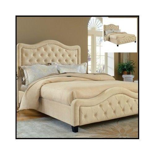 King-Size-Bed-Frame-Bedroom-Furniture-Headboard-Modern-Tufted-Panel-Wood-Home