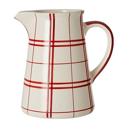 $35: Grid Pitcher, Canes Pitcher, Candy Canes, Candies Canes, Plaid Pitcher, Christmas Breakfast, Red Hot, White Kitchens, White Pitcher