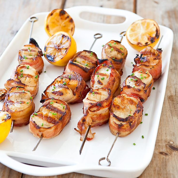 Grilled Bacon-Wrapped Scallops Recipe - Cooks Country. Love the
