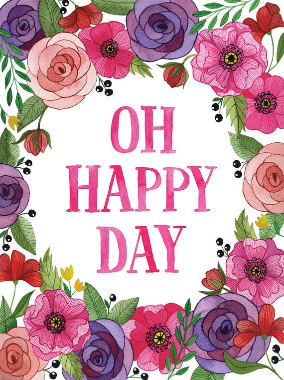 Oh Happy Day Art Print 5 x 7 - vertical    Print Details.  This listing is for a reproduction of my original watercolor painting. This is printed on