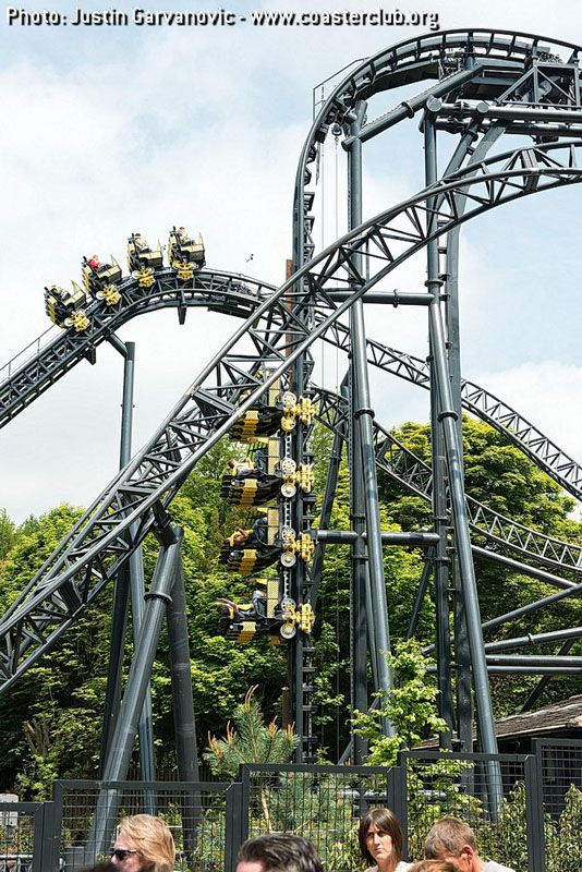 Smiler Alton Towers. 12 inversions this ride is worth the wait. I qued 2hr 30 mins when it first opened.