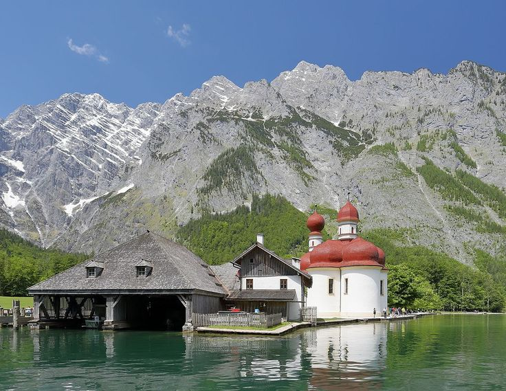 St. Bartholomew's Church (St. Bartholomä), Königssee, and the East Face of Mount Watzmann, Bavaria